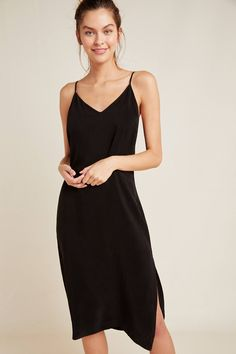 Stateside Cupro Slip Dress by in Black Size: Xs, Women's Lounge at Anthropologie
