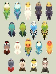 Vogelschwanzsammlung / ErA Cute Kawaii Drawings, Cute Animal Drawings, Bird Drawings, Kawaii Art, Funny Birds, Cute Birds, Creature Design, Bird Art, Beautiful Birds