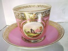 Antique French Old Paris Porcelain Pink Gold by JustSparkles