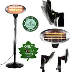 Electric Patio Heater Adjule Free Standing Quartz Garage Indoor Outdoor Warm