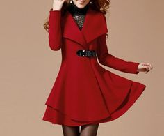 Image of Red Long Coat Winter Coat Woman coat Long Jacket Long Sleeves Golilla Collar Coat Woolen Coat M1