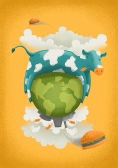 My first illustration for Olio, representing global warming and Cowspiracy
