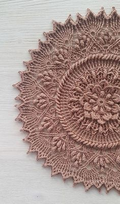 Beautiful crochet doily in sand color. D = 32 cm / in Weight = 86 gr. *** Care Instructions: -Gently hand wash using mild liquid soap; -Reshape in wet condition and dry flat; Crochet Doily Rug, Free Crochet Doily Patterns, Crochet Carpet, Crochet Home, Thread Crochet, Irish Crochet, Crochet Designs, Crochet Flowers, Crochet Stitches