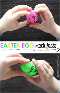 Easter Egg Math Facts - Playdough To Plato Easter Activities, Math Activities, Spring Activities, Kindergarten Math, Teaching Math, Teaching Ideas, Playdough To Plato, Math Facts, Fun Math