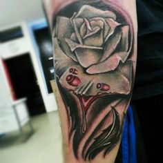 Color; rose; white rose; realism; tattoo by Johnny Jinx at Broken Clover in Tucson, AZ