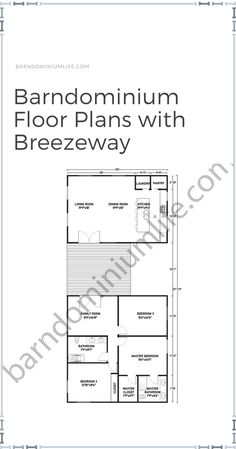 Breezeways are trending now among current and future homeowners, albeit for various reasons: increased ventilation, protection from the elements, and outdoor entertaining. If you're one of them and you already own a barndominium or are planning to construct one, then you're in luck! We've curated 8 floor plans specially designed for barndo homes with a breezeway. Some are perfect for large families, while others are more appropriate for medium-sized household. Check out them on attached article! Barndominium Floor Plans, Aging In Place, Breezeway, Build Your Dream Home, Master Closet, Creative Design, Family Room, House Plans, Large Families