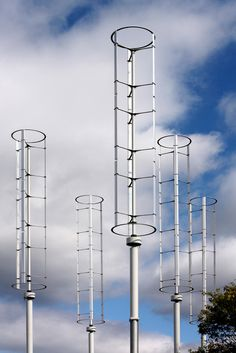 Windspire wind turbines at The Caltech Field Laboratory for Optimized Wind Energy.  Professor John Dabiri estimates that once optimal positioning is determined, it may be possible to produce 10 times the amount of wind energy currently generated by a common horizontal turbine wind farm.