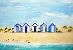 Southwold Blue and White Beach Huts - Lynette Amelie Art English Seaside and Beach Hut Paintings                                                                                                                                                                                 More