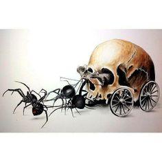 Just plain creepy. Skull Tattoo Design, Skull Tattoos, Tattoo Designs, Spider Art, Spider Tattoo, Black Widow Spider, Horror, Skeleton Art, Desenho Tattoo