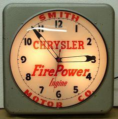 Chrysler Vintage Clock  (1953 Antique Car Dealership Light Up Advertising Clock, FirePower Engine, Smith Motor Co.)