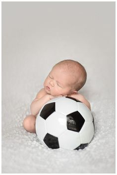 Newborn baby and soccer ball - will have to do this for my first baby, boy or girl!