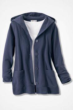 Crème de la Fleece Hooded Jacket, Indigo
