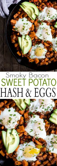 Smoky Bacon Sweet Potato Hash & Eggs - a great 30 minute recipe that's paleo & gluten free! I guarantee you'll want to devour it for breakfast, lunch, and dinner! | http://joyfulhealthyeats.com