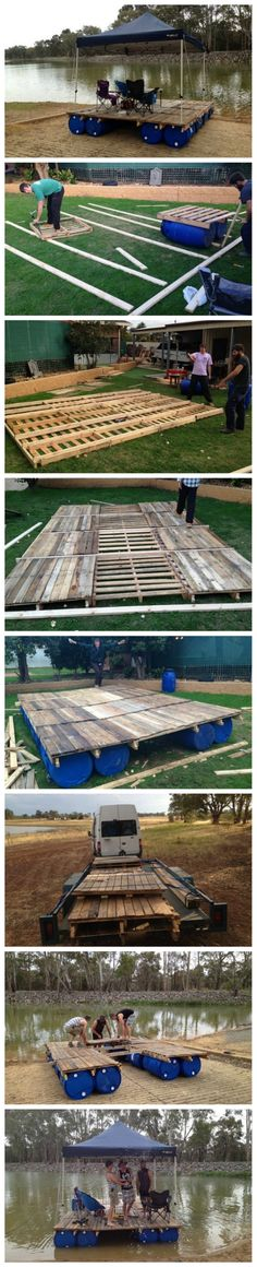 How To Build A Transportable Pontoon Raft Out Of Old Pallets And 55 Gallon…