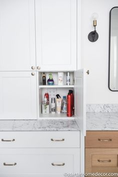 Master Bathroom Reveal | Start at Home Decor | Bathroom Organization Bathroom Fixtures, Bathrooms, Toothpaste Holder, Freestanding Tub Filler, Quarter Sawn White Oak, Floating Vanity, Hanging Light Fixtures, Bathroom Stuff