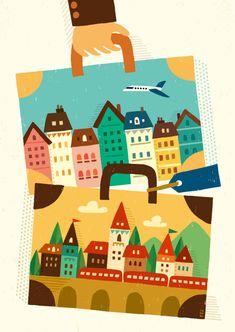旅鞄はひとつ_suzuki tomoko Pattern Design, Illustration Art, Scene, Kids Rugs, Graphic Design, Holiday Decor, Cities, Prints, Houses