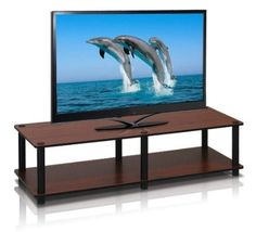 nice Furinno 11175DC(BK)/BK Just No Tools Dark Cherry Wide Television Stand with Black Tube - For Sale