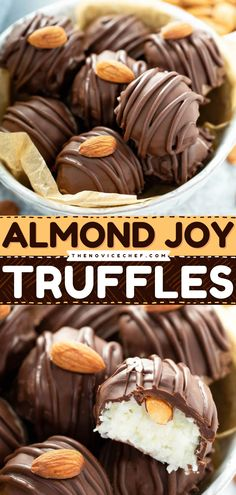 Creamy coconut filling covered with a layer of dark chocolate and a hidden almond inside! This almond joy truffle recipe is a very easy no-bake dessert perfect for summer. These truffles are just pure bites of goodness! Easy No Bake Desserts, Best Dessert Recipes, Candy Recipes, Easy Desserts, Cookie Recipes, Almond Joy Truffles Recipe, Truffle Recipe, Easy Family Meals, Family Recipes