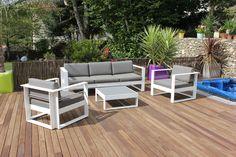 Table et chaise de jardin gri, vert, rose, violet gamme Hyba Acier ...