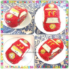 McQueen Cars Birthday Cake.  Chocolate Cake, decorated with buttercream frosting   www.facebook.com/cakeanddessertlovers
