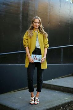 SO ME, SO CUTE!  Perfect spring outfit!  Citron coat, floral shirt, rolled up denim, white sandals and an unexpected clutch.--- spring it on | LE CATCH