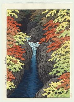 Woodcut print of Atasuma Gorge