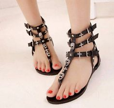 Roman Skull Thong Sandals