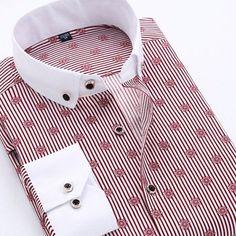 2015 Autumn Printed Men Shirt Long Sleeve Male Business Casual Fashion Formal Dress Shirts Slim Fit Camisa Plus Size 5XL YN026
