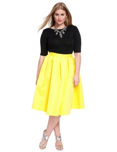 Studio Citron Midi Skirt | Women's Plus Size Skirts | ELOQUII I need this shirt & skirt combo in my life - NOW
