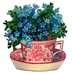 Beautiful Teacup with Flowers - The Graphics Fairy