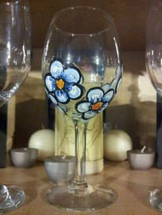 Hand-painted wine glass.