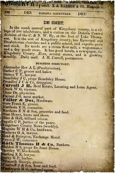 Excerpt of the Minnesota, North and South Dakota and Montana Gazetteer and Business Directory, 1880 - 1881, Vol. II showing the business directory of DeSmet, SD. Several people from Laura's books are found on the list.