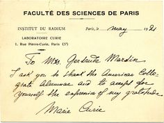 Marie Curie's thank-you note
