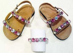 Greek genuine leather baby sandals, knitted with real Swarovski beads.