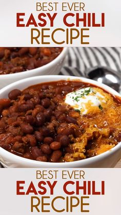 Best Easy Chili Recipe is my family's absolute favorite, and the only quick and easy chili recipe you will ever need! Learn how to make hearty, comforting chili in your crockpot or on your stovetop! Best Easy Chili Recipe, Chili Recipe Stovetop, Beef Chili Recipe, Chilli Recipes, Bean Recipes, Soup Recipes, Crockpot Chilli Beans, Chili Recipe With Beans, Chili For A Crowd Recipe