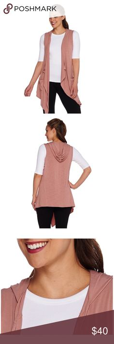 """NEW LOGO by Lori Goldstein Open Front Vest w/ Hood This is a brand new, never worn LOGO by Lori Goldstein Open Front Knit Vest with Hood & Pockets in Faded Rose!  Size XS.  A cascading open front, a great hood, and two front pockets near the hemline bring a bit of flair to the versatile design. Features: vest, attached hood, cascading open front, two front pockets near hemline Fit: semi-fitted; follows the lines of the body with added wearing ease Length: missy length 31-1/2"""" to 33-5/8""""…"""