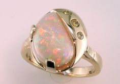 custom opal diamond ring