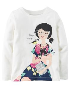 Kid Girl Long-Sleeve Chirping Bird Graphic Tee from Carters.com. Shop clothing & accessories from a trusted name in kids, toddlers, and baby clothes.