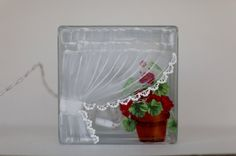 Glass Block Light-Curtain and Geraniums-Lamp-Night Light
