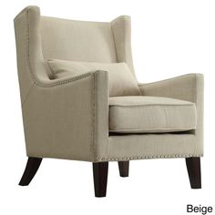 Henry Wingback Nailhead Upholstered Club Chair with Pillow by Tribecca Home