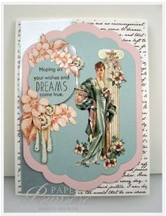 Graphic Ladies Diary, aqua, pink, text, wishes and dreams. Art Deco Cards, Scrapbook Paper, Scrapbooking, Scrapbook Albums, Shabby, Graphic 45, Paper Cards, Creative Cards, Tag Art