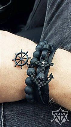 Black Sailor Bracelet by FXMX Empire - with 10mm matte black Onyx (Carbon Anchor Bracelet by Kohlenstoff 12)