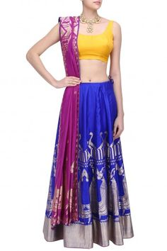 Ekaya Royal Blue Classical Dance Motifs Banarasi Lehenga Set with Unstitched Blouse Piece #Ekaya#ethnic#shopnow #ppus #happyshopping