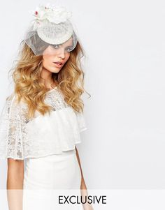 Image 1 of Johnny Loves Rosie Fascinator in Ivory with Roses