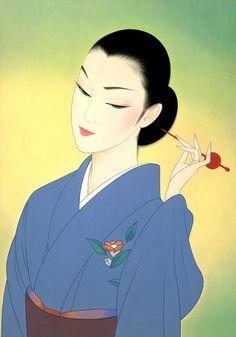 🔆🔆🔆by: Ichiro Tsurato🔆🔆🔆 Japanese visual artist, was born in 1954 in the city of Hondo in Kumamoto Prefecture, Ichiro Tsuruta grew up in Kyushu's Amakusa Region, Japan. Geisha Kunst, Geisha Art, Kumamoto, Art Chinois, Art Asiatique, Korean Art, Love Illustration, Art Moderne, Japan Art