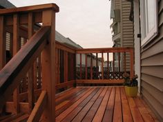 stained deck and railing, love this color