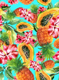It's a tropical delight. Cute Wallpapers, Wallpaper Backgrounds, Iphone Wallpaper, Tropical Art, Tropical Flowers, Tropical Wallpaper, Fruit Pattern, Tropical Pattern, Fruit Art