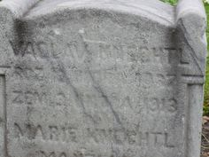 """A photo of the headstone for Vaclav Knechtl. Credit: Scott Phillips. Read more on the GenealogyBank blog: """"How to Find Ancestors' Graves: Cemetery Research with Newspapers."""" http://blog.genealogybank.com/how-to-find-ancestors-graves-cemetery-research-with-newspapers.html"""