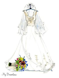 Wedding dress sketch and suit sketch framed and given as a wedding gift from the groom or as a wedding gift to his bride. ///// #weddinggift #anniversarygift #groom #groomsmen #groomsman #grooms #florist #weddingflowers #weddingflorist #weddingphotographer #photographer http://www.mydreamlines.com/