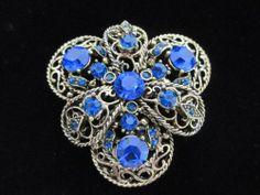 Vintage Faceted Blue Rhinestone Filigree 3D Brooch Pin